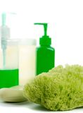Natural sponge, soap and body lotion Stock Image