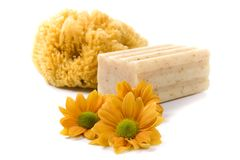 Natural sponge, soap and flowers Royalty Free Stock Photography