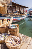 Natural sponges Rhodes, Greece. A boat moored at a harbour in Rhodes, Greece selling natural sea sponges to tourists Stock Photography