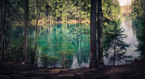 Natural spring. In southern Finland. Water is so clear that it´s turquoise color. Water can be drink directly from the spring. Kiikinlähde, Hollola, Finland Royalty Free Stock Photography