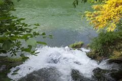 Natural Spring Waterfall on mountain river Royalty Free Stock Photos