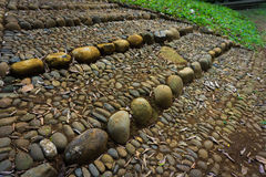 Natural stairs made from stones, gravels and soil photo taken in kebun raya bogor indonesia. Java Stock Images