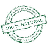 Natural stamp. 100% natural grunge rubber stamp stock illustration