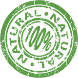 Natural Stamp. An image of a green 100% natural stamp Stock Images