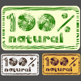 100% natural stamp. Stamp or sticker 100 pecent natural with different colors Royalty Free Stock Photos