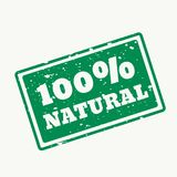 100% natural stamp in vector. Design Royalty Free Stock Images