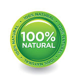 Natural_sticker. Vector Green 100% Natural Label Royalty Free Stock Photos