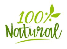 Natural 100% sticker. Vector illustration for graphic and web design Royalty Free Stock Images