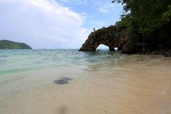 Natural Stone Arch, Khai island, Satun, Thailand Stock Images
