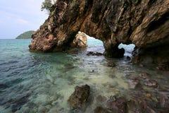 Natural Stone Arch, Khai island, Satun, Thailand. Lover Gate, Natural Stone Arch, Khai island, Satun, Thailand Royalty Free Stock Images