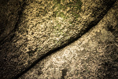 Natural stone covered with lichens with crack Royalty Free Stock Images