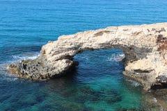 Natural stone Love Bridge in Cyprus Ayia Napa. Stock Photos