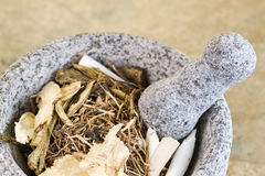 Natural Stone Pestle used for crushing Chinese Herbs Royalty Free Stock Image