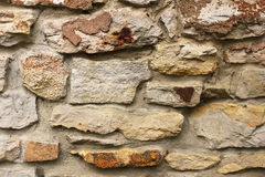 Natural Stone Siding Background on Old House Exterior Wall Royalty Free Stock Images