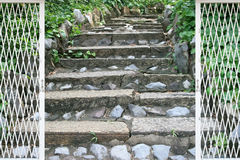 Natural stone stairs landscaping Stock Image