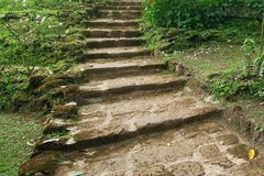 Natural stone stairs landscaping Stock Photo
