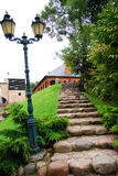 Natural stone steps. Outdoor natural stone steps leading up hill in Belmontas, Vilnius city, Lithuania Stock Photos