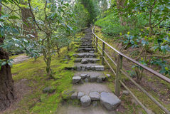Natural Stone Steps in Japanese Garden Royalty Free Stock Photography
