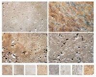 Natural stone textures. Macro - Collage of different natural stone textures Royalty Free Stock Photo