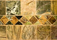 Natural Stone Tile ~ Tumbled. Edges ~ Variegated Tan, Brown and Green Royalty Free Stock Photography