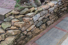 Natural stone wall dry laid Royalty Free Stock Photos