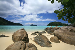 Natural stones at beautiful tropical coastline Stock Images