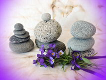 Natural stones and pansy flowers  on old fabric Stock Photography