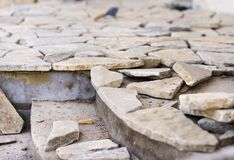 Natural stones on a wall Stock Photo