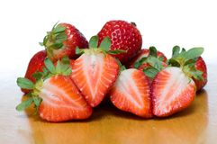 Natural Strawberries in Table with White background Royalty Free Stock Images