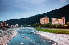 Natural stream of Gero onsen resort town at sunset time in Gifu, Japan. Natural stream and green mountain valley of Gero onsen resort town at sunset time in Gifu royalty free stock photography