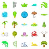 Natural strength icons set, cartoon style. Natural strength icons set. Cartoon set of 25 natural strength vector icons for web isolated on white background Stock Images