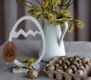 Natural style Easter still life with alder branches and quail eggs royalty free stock photo