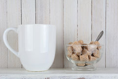 Natural Sugar Bowl and Coffee Stock Photography