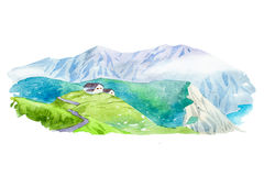 Natural summer beautiful mountain landscape watercolor illustration. Royalty Free Stock Photos