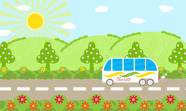 Natural summer landscape in flat style. Mountains and trees in background of clouds and sun. Tourist bus on an excursion Stock Images