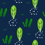 Natural summer pattern with cute plants and graphical elements on dark background. Ornament for textile and wrapping. Vector.  Stock Photo