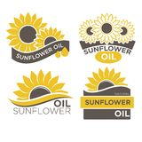 Natural sunflower oil logotypes set vector illustration on white background Royalty Free Stock Photography