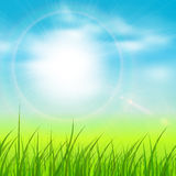 Natural sunny background. Spring natural sunny background with vector sun and grass Royalty Free Stock Photography
