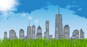 Natural Sunny on background of business city and green grass.  Stock Photos