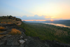 Natural sunrise scene at Pha Taem national park. Natural sunrise landscape on the cliff at Pha Taem national park in Ubon Ratchathani province, Thailand Stock Photography