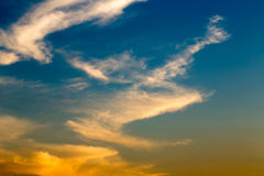 Natural sunset /sunrise with beautiful clouds. Bright Dramatic Sky in warm colors Stock Photo