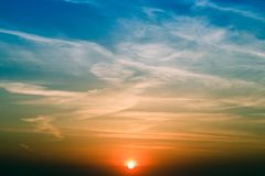 Natural Sunset Sunrise Over Field. Bright Dramatic Sky And Dark Ground. Landscape Under Scenic Colorful Sky Warm Colours Royalty Free Stock Images