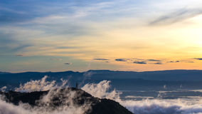 Natural Sunset Sunrise.Phu Thap Boek,Phetchabun Mountains.Landscape Sky At Sunset Dawn Sunrise. Unseen Thailand Royalty Free Stock Photo