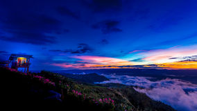 Natural Sunset Sunrise.Phu Thap Boek,Phetchabun Mountains.Landscape Sky At Sunset Dawn Sunrise. Unseen Thailand Stock Photography