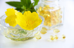 Natural supplement with evening primrose Royalty Free Stock Image