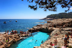 Natural swimming pool in Costa Brava Stock Images
