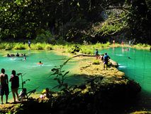 Natural swimming pools and fun in Semuc Champey. Alta Verapaz, Guatemala stock image