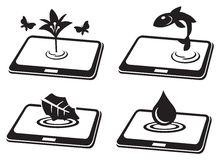 Natural Symbol on Tablet Computer Conceptual Vector Icon Set Stock Images