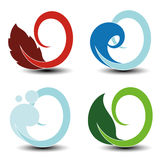 Natural symbols - fire, air, water, earth - nature circular elements with flame, bubble air, wave water and leaf. Illustration Stock Photos