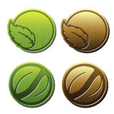 Natural symbols, nature bio icon with leaf, circular sticker for eco product Royalty Free Stock Image